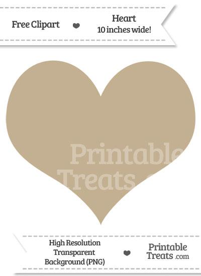 Khaki Heart Clipart from PrintableTreats.com