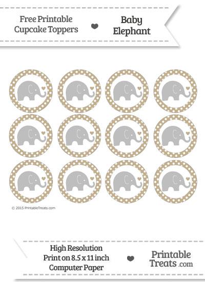 Khaki Polka Dot Baby Elephant Cupcake Toppers from PrintableTreats.com