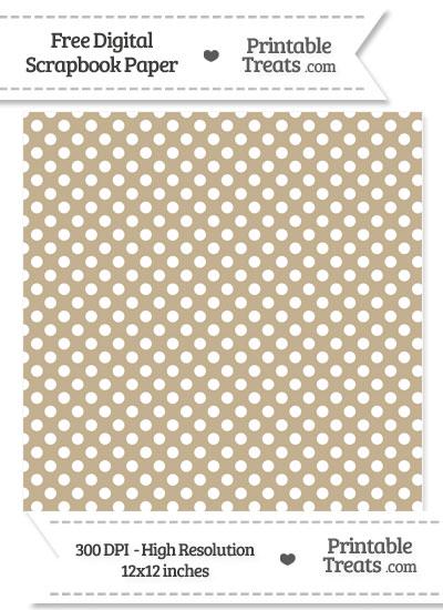 Khaki Polka Dot Digital Paper from PrintableTreats.com