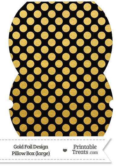 Large Black and Gold Foil Dots Pillow Box from PrintableTreats.com