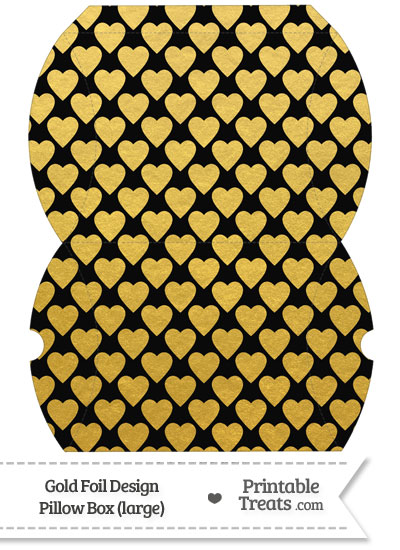 Large Black and Gold Foil Hearts Pillow Box from PrintableTreats.com