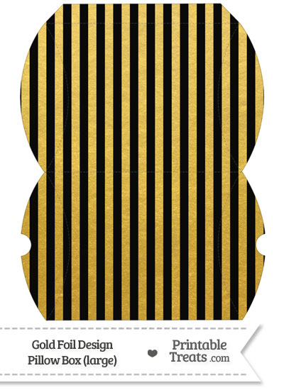 Large Black and Gold Foil Stripes Pillow Box from PrintableTreats.com