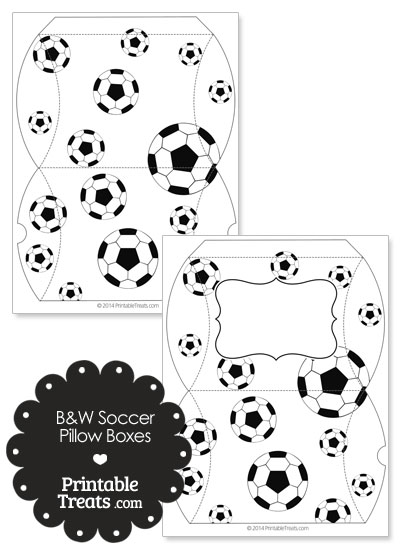 Large Black and White Soccer Pillow Boxes from PrintableTreats.com