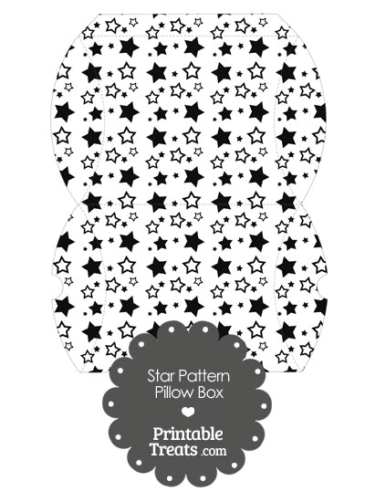 Large Black Star Pattern Pillow Box from PrintableTreats.com