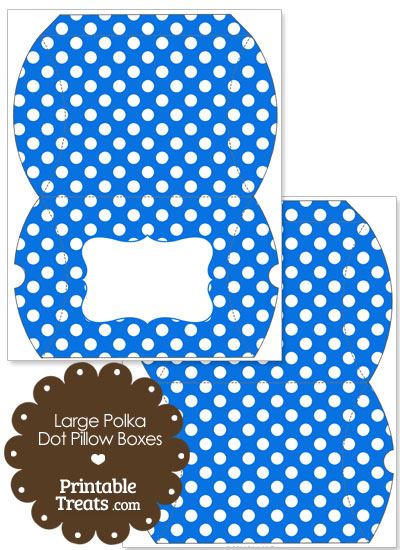 Large Blue and White Polka Dot Pillow Box from PrintableTreats.com