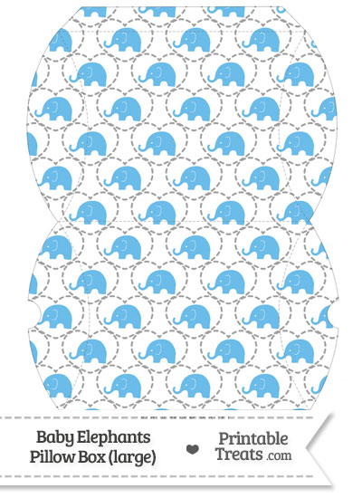Large Blue Baby Elephants Pillow Box from PrintableTreats.com