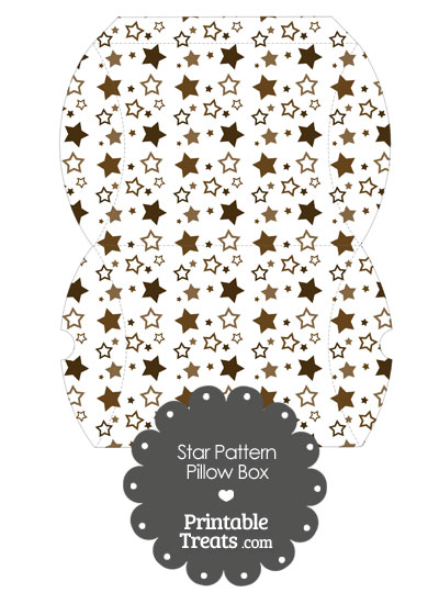 Large Brown Star Pattern Pillow Box from PrintableTreats.com