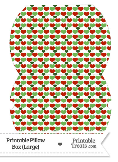 Large Christmas Hearts Pillow Box from PrintableTreats.com