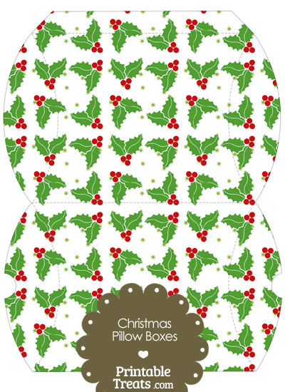 Large Christmas Holly Pillow Box from PrintableTreats.com
