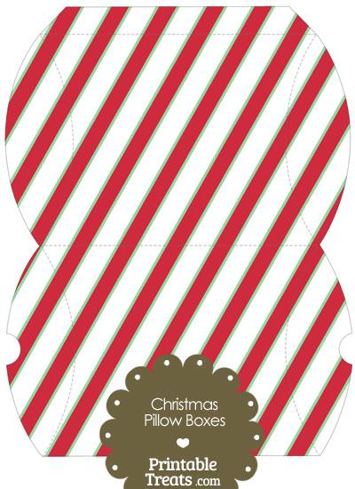 Large Christmas Stripes Pillow Box from PrintableTreats.com