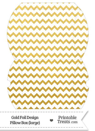 Large Gold Foil Chevron Pillow Box from PrintableTreats.com