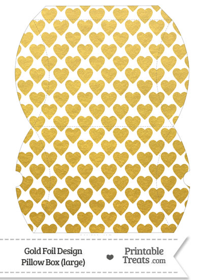 Large Gold Foil Hearts Pillow Box from PrintableTreats.com