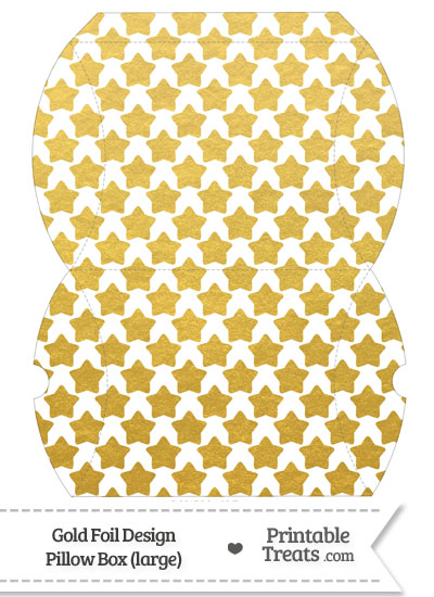 Large Gold Foil Stars Pillow Box from PrintableTreats.com