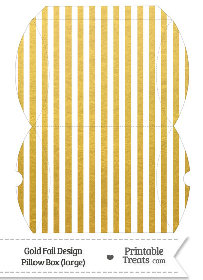 Large Gold Foil Stripes Pillow Box from PrintableTreats.com
