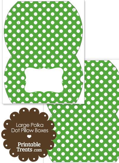 Large Green and White Polka Dot Pillow Box from PrintableTreats.com