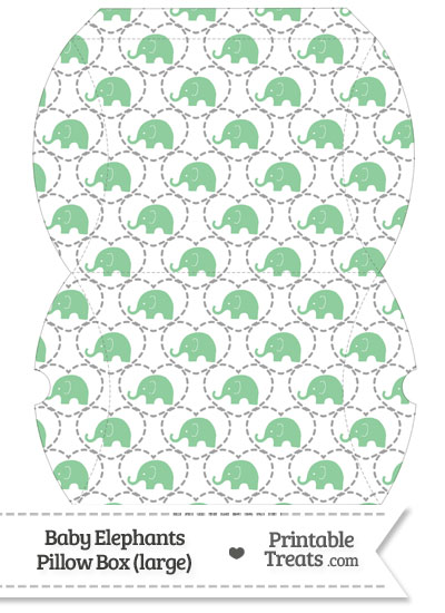 Large Green Baby Elephants Pillow Box from PrintableTreats.com