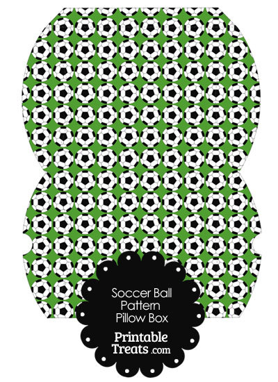 Large Green Soccer Ball Pattern Pillow Box from PrintableTreats.com