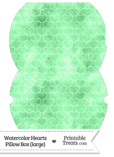 Large Green Watercolor Hearts Pillow Box from PrintableTreats.com