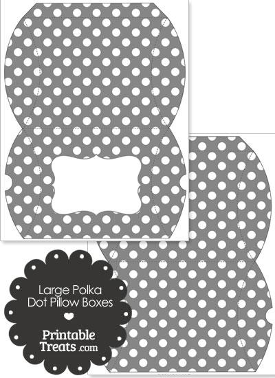 Large Grey and White Polka Dot Pillow Box from PrintableTreats.com