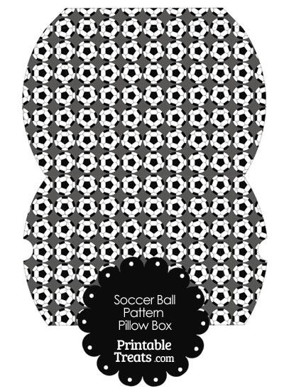 Large Grey Soccer Ball Pattern Pillow Box from PrintableTreats.com