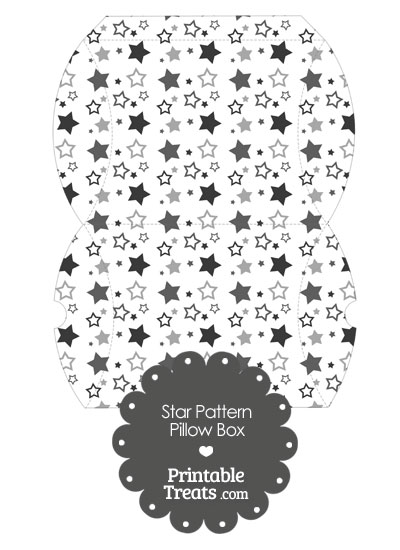 Large Grey Star Pattern Pillow Box from PrintableTreats.com