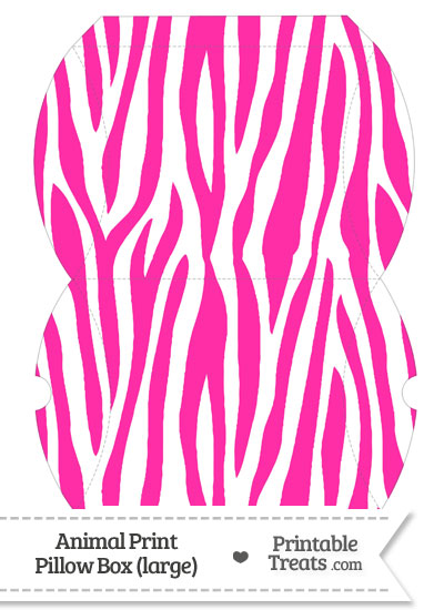 Large Hot Pink and White Zebra Print Pillow Box from PrintableTreats.com