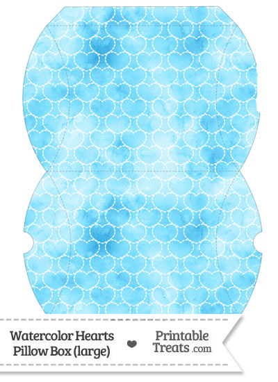 Large Light Blue Watercolor Hearts Pillow Box from PrintableTreats.com