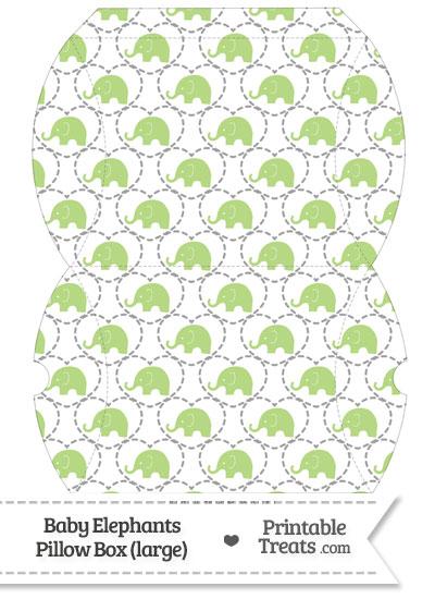 Large Light Green Baby Elephants Pillow Box from PrintableTreats.com