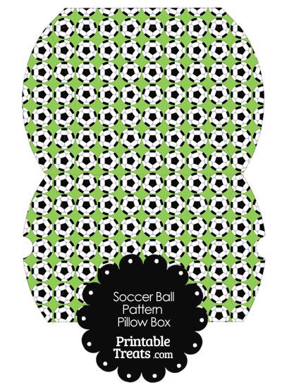 Large Light Green Soccer Ball Pattern Pillow Box from PrintableTreats.com