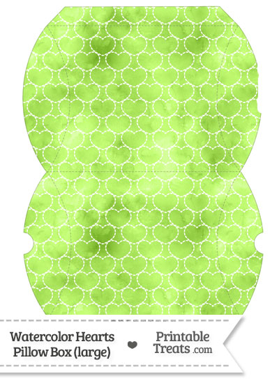 Large Light Green Watercolor Hearts Pillow Box from PrintableTreats.com