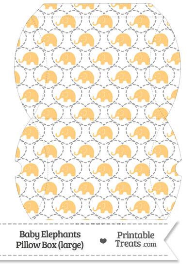 Large Light Orange Baby Elephants Pillow Box from PrintableTreats.com