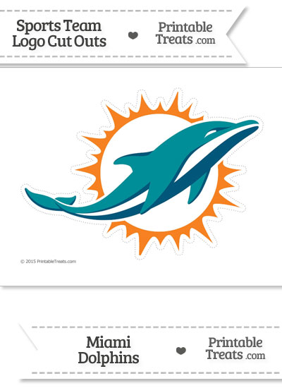 Large Miami Dolphins Logo Cut Out from PrintableTreats.com