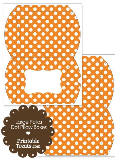 Large Orange and White Polka Dot Pillow Box from PrintableTreats.com