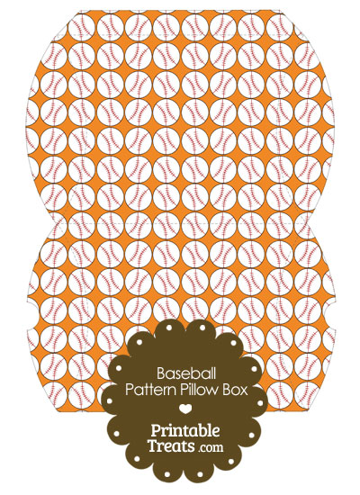Large Orange Baseball Pattern Pillow Box from PrintableTreats.com