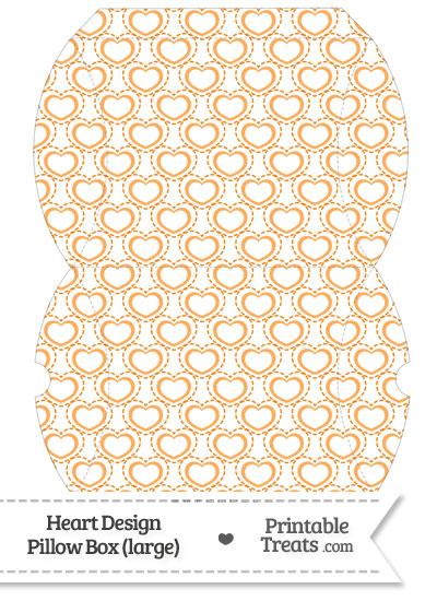 Large Orange Heart Design Pillow Box from PrintableTreats.com