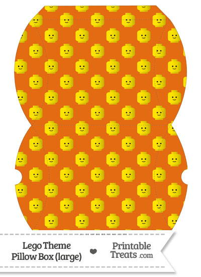 Large Orange Lego Theme Pillow Box from PrintableTreats.com