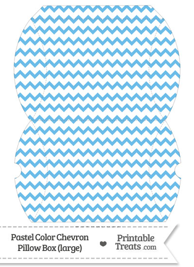 Large Pastel Blue Chevron Pillow Box from PrintableTreats.com