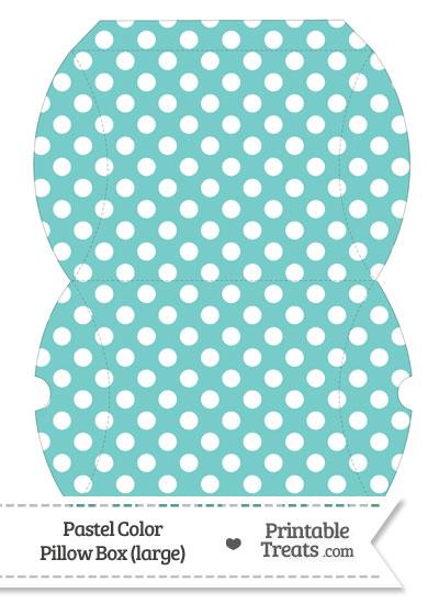 Large Pastel Blue Green Polka Dot Pillow Box from PrintableTreats.com