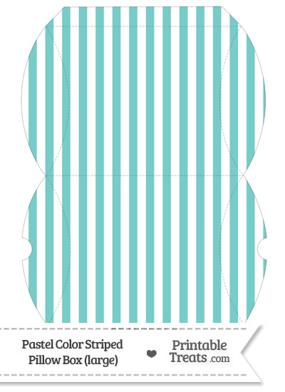 Large Pastel Blue Green Striped Pillow Box from PrintableTreats.com