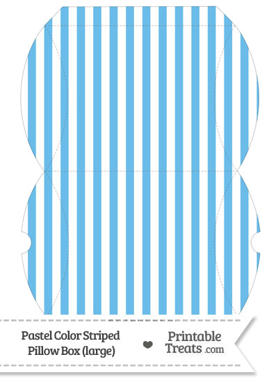Large Pastel Blue Striped Pillow Box from PrintableTreats.com