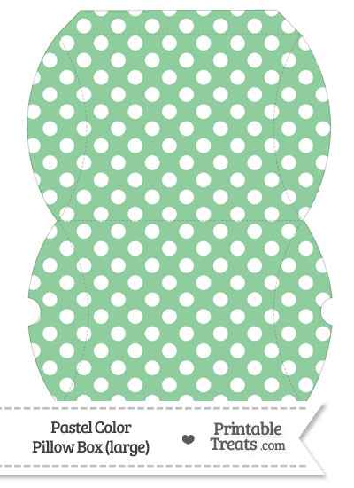 Large Pastel Green Polka Dot Pillow Box from PrintableTreats.com