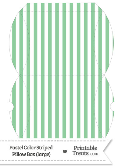 Large Pastel Green Striped Pillow Box from PrintableTreats.com