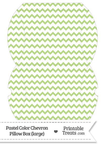 Large Pastel Light Green Chevron Pillow Box from PrintableTreats.com