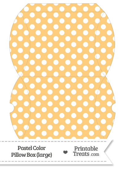 Large Pastel Light Orange Polka Dot Pillow Box from PrintableTreats.com