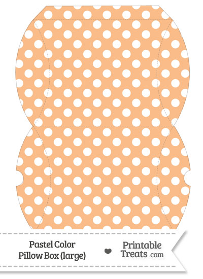 Large Pastel Orange Polka Dot Pillow Box from PrintableTreats.com