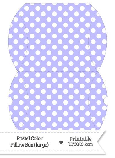 Large Pastel Purple Polka Dot Pillow Box from PrintableTreats.com
