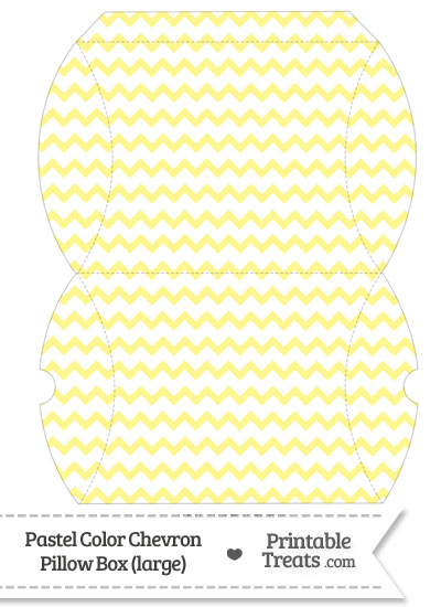 Large Pastel Yellow Chevron Pillow Box from PrintableTreats.com
