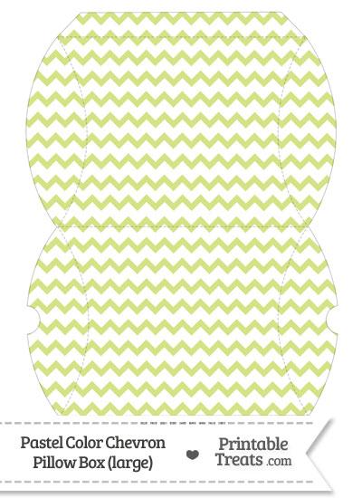 Large Pastel Yellow Green Chevron Pillow Box from PrintableTreats.com