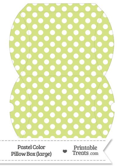 Large Pastel Yellow Green Polka Dot Pillow Box from PrintableTreats.com
