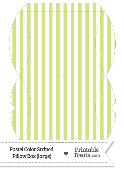 Large Pastel Yellow Green Striped Pillow Box from PrintableTreats.com